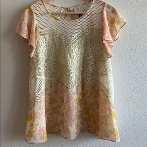 Anthro Flowy Floral Top